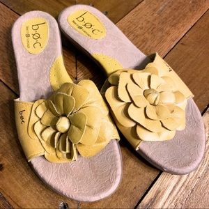 B.O.C. Yellow Flower Leather Slide Sandal 9